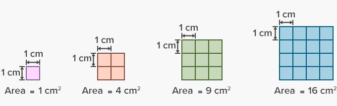 Unit squares in area in square centimeters