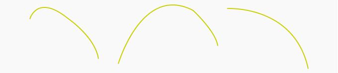 downward curve