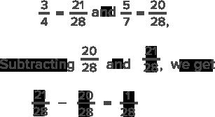 subtract denominators