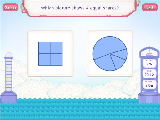 Partition shapes : equal shares Worksheet