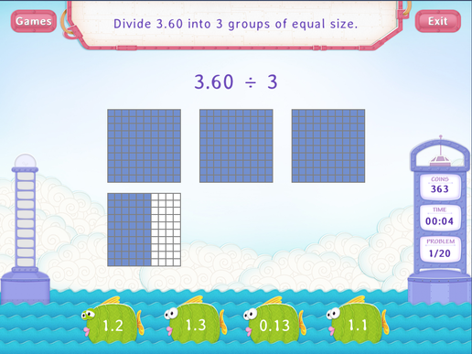 Divide Decimals by Whole Number - Practice with Fun Math Worksheet