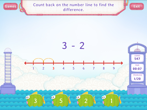 Count back to subtract Worksheet